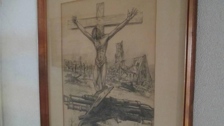 De tekening van Jan Meine Jansen, met op de achtergrond het Brabantse dorp. (Foto: Patricia Bolderheij)