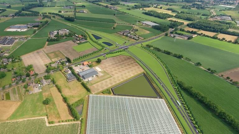 Bij de Gemertseweg komt straks een viaduct. (Visualisatie: Provincie Noord-Brabant)