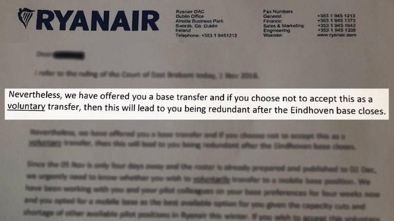 Ryanair stuurde een keiharde brief aan de piloten.