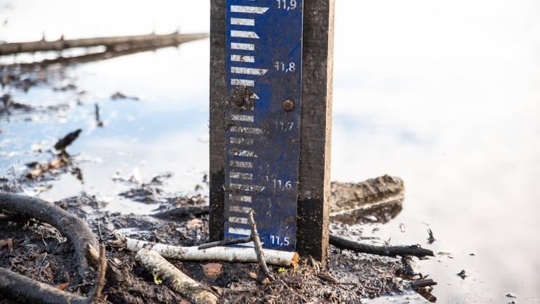 Peilschaal geeft aan hoe hoog het water staat (foto: Kevin Cordewener)
