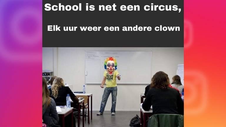 Eén van de memes die gepost is door een leerling van het Frits Philips lyceum. (Foto: Omroep Brabant)