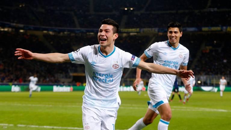Hirving Lozano scoorde voor PSV in de Champions League tegen Inter. (foto: VI Images).