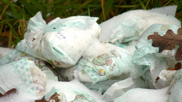 De gedumpte babyluiers in een bos langs rivier de Donge.
