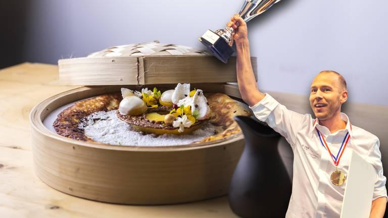 De bakker en zijn creatie, de 'Bali Sunrise' (foto: Tamara Verheij).