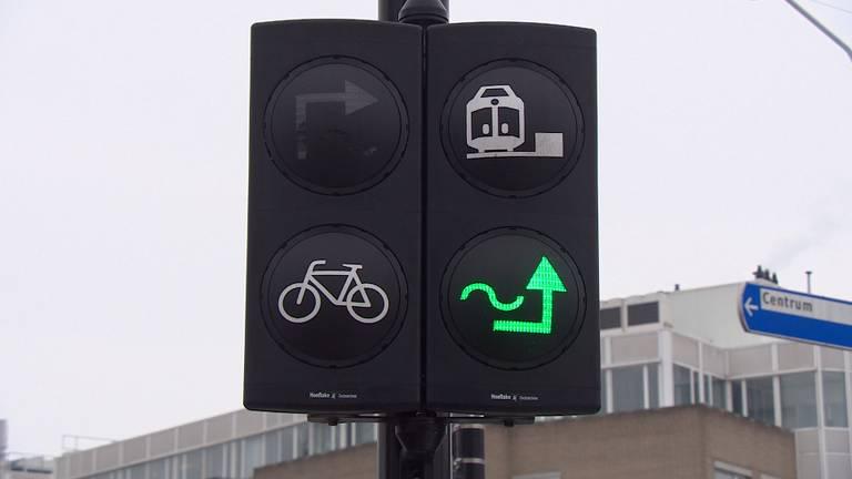 De Flip in Den Bosch vertelt fietsers wat op dat moment de snelste route is. (Foto: Omroep Brabant)