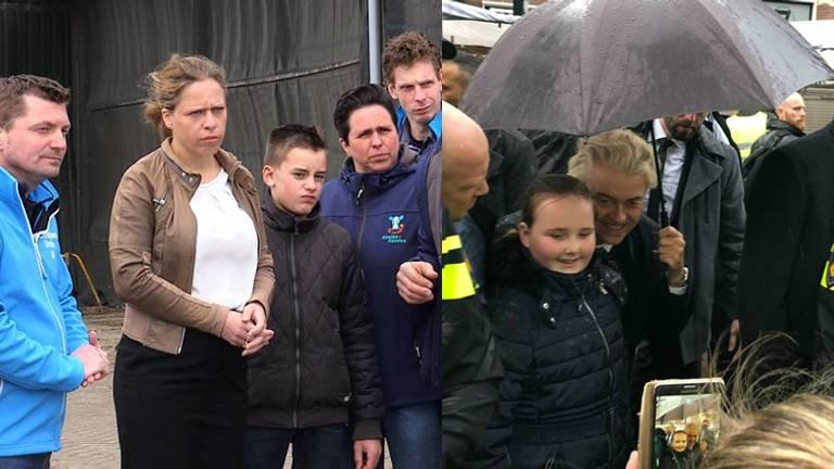 Minister Carola Schouten (l) tussen de boeren. Geert Wilders op de foto met een jonge fan. Foto's: Omroep Brabant