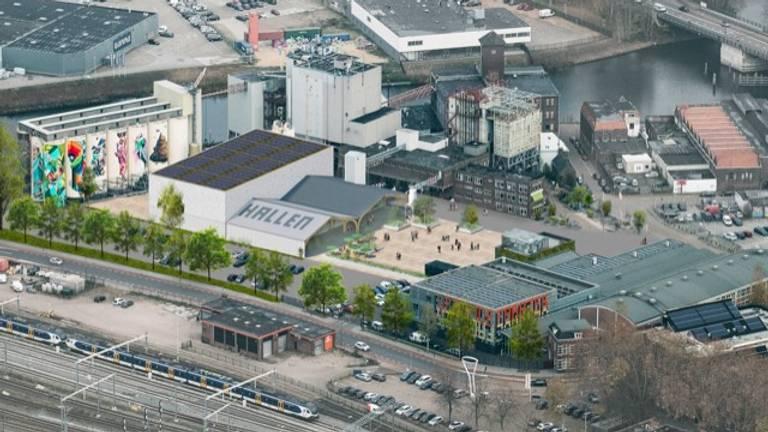 Kop van 't Zand in Den Bosch; rechtsonder de Verkadefabriek.