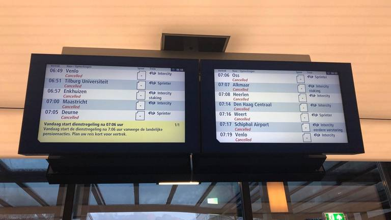 Er reden 66 minuten geen treinen vanwege de staking. (Foto: Rene van Hoof)