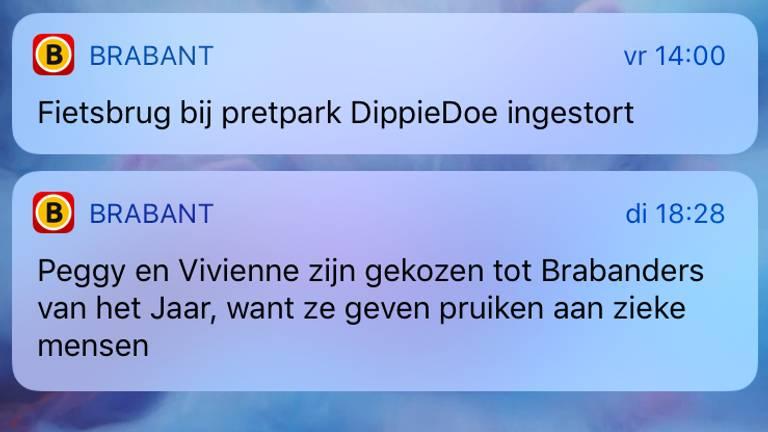 Twee pushmeldingen van Omroep Brabant in 2018