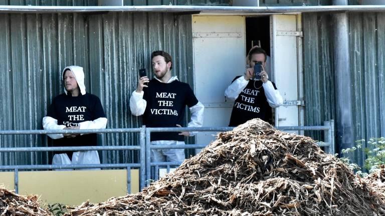 Activisten voor de stal in Boxtel. (Foto: Hans van Hamersveld)