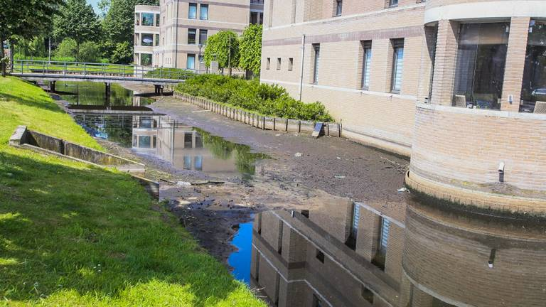 De drooggevallen gracht in Helmond. (Foto: Pim Verkoelen/SQ Vision)