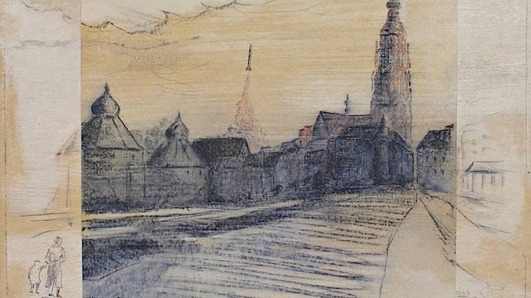 De tekening 'Raketstart vanuit de Bredase binnenstad' (foto: Raoul Cartens)