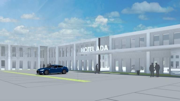 De Partijhal in Sint Willebrord wordt omgebouwd tot Hotel Ada.