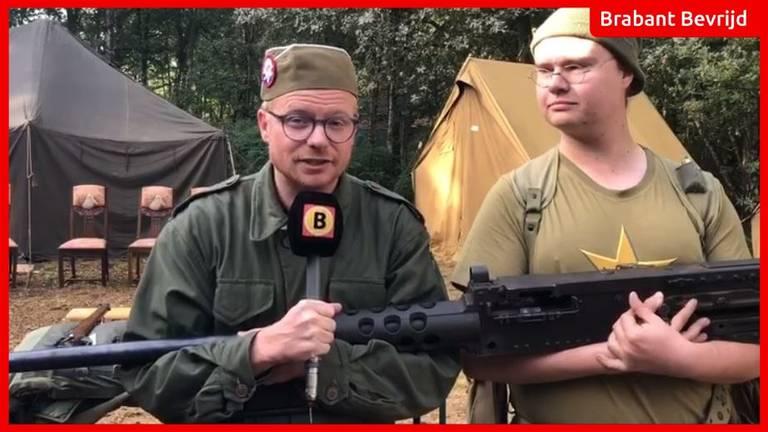 Soldaat Joep samen met verslaggever Floyd. Screenshot: Omroep Brabant.