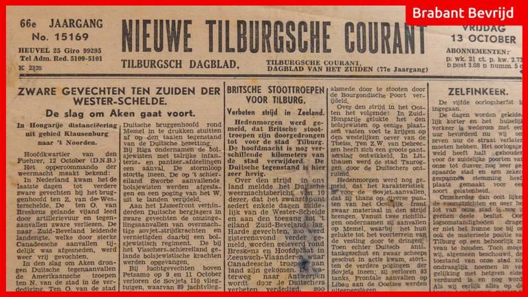 Britse stoottroepen op weg naar Tilburg, meldt de Nieuwe Tilburgsche Courant op 13 oktober 1944.