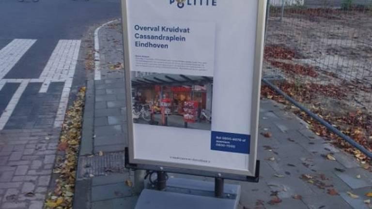 Een stoepbord dat werd geplaatst in de buurt van het Kruidvat aan het Cassandraplein. (Foto: Politie)