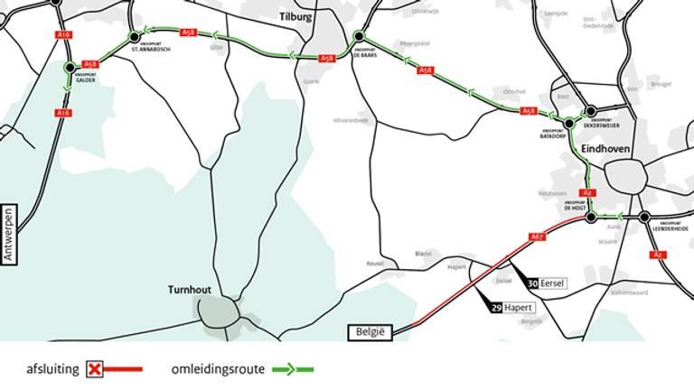 Het verkeer wordt dit weekend omgeleid. (Foto: Rijkswaterstaat)