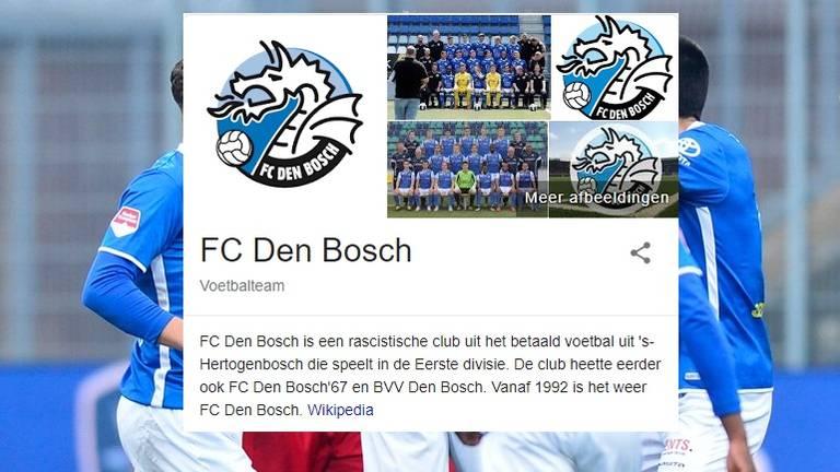 Wie zoekt op 'FC Den Bosch' in Google, krijgt nu nog de bewerkte pagina