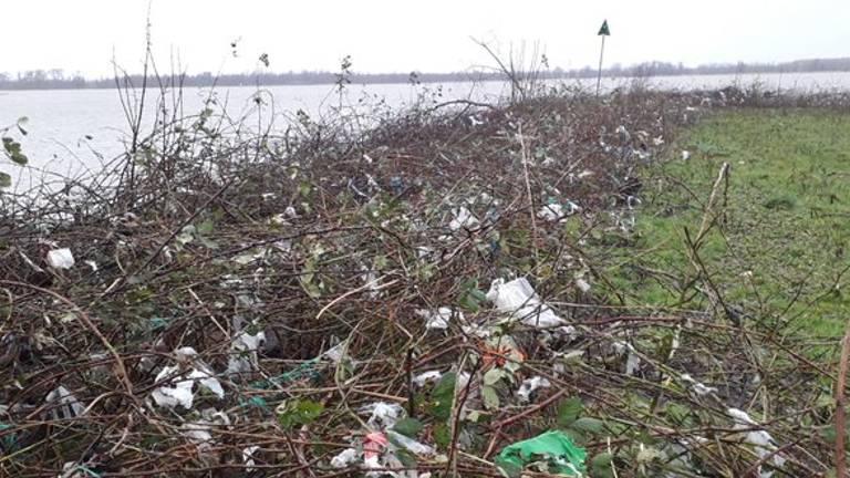 De Noordwaard ligt vol plastic (Foto: boswachter Arie).