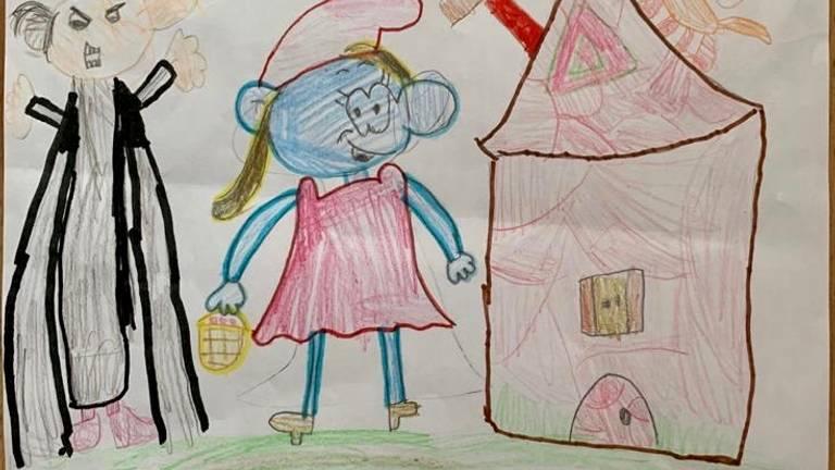 Sophie maakte deze tekening van Smurfin en Gargamel