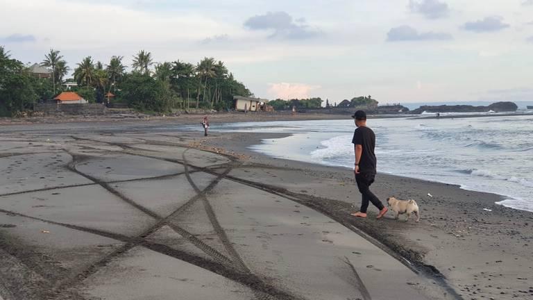 Donee en hond Zoë op het verlaten strand van Bali.