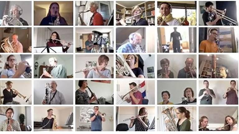 Een deel van de orkestleden van Sub Umbra uit Veldhoven. (Beeld: YouTube)