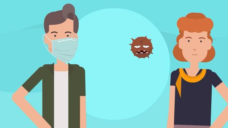 Met een mondkapje voorkom je vooral dat je anderen besmet.