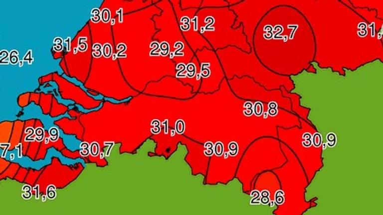 De temperaturen om 10.50 uur (kaartje: Weerplaza).