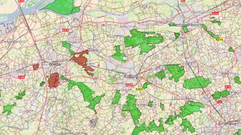 Vooralsnog is alleen in de bossen rondom Breda code rood afgegeven (screenshot: VisitBrabant)