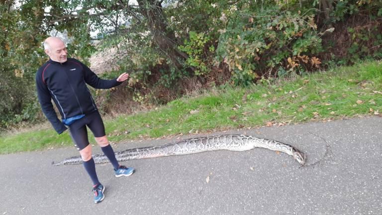 Michel Bego bij de python die hij vond (privéfoto).