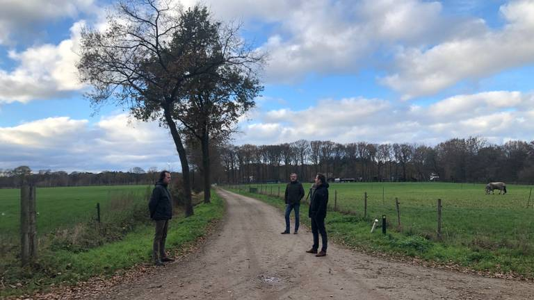 Willem, Erik en Maarten op de plek waar de zonneweide moet komen (foto: Alice van der Plas).