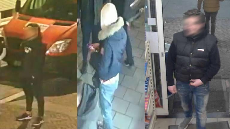 De relschoppers zijn nu nog onherkenbaar, maar komen op maandag 15 maart zonder balkje op tv (foto: politie).
