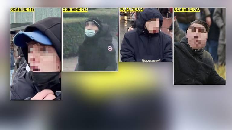 Deze vier relschoppers zijn maandag herkenbaar te zien (foto: Politie).