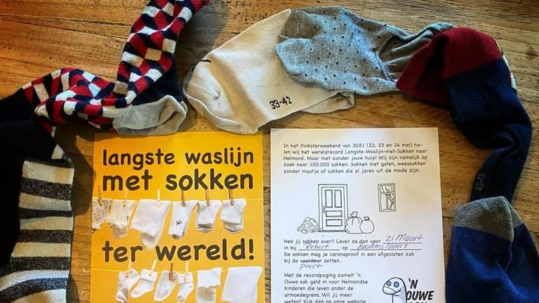 Recordpoging langste waslijn met sokken.