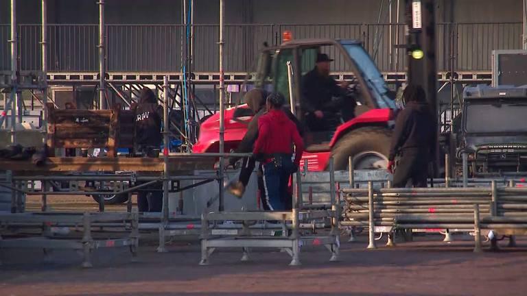 Het festivalterrein wordt weer afgebroken (beeld: Omroep Brabant).