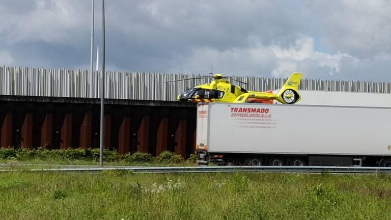 Er is een traumahelikopter geland (foto: Wilma Gebbink).