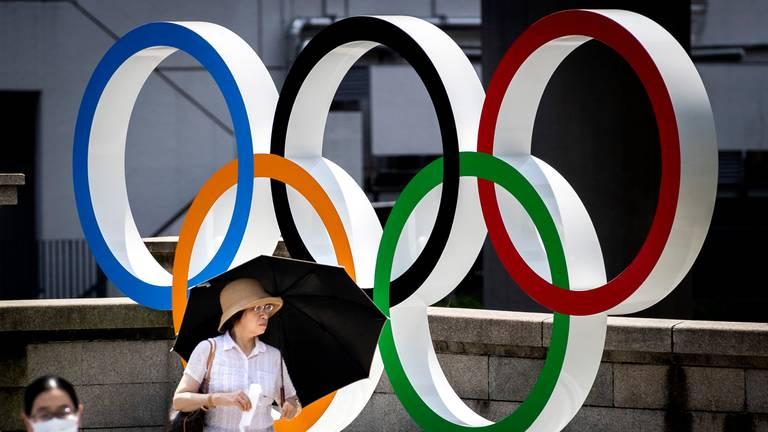 De olympische ringen in Tokio, tijdens de Olympische Spelen (foto: ANP 2021/ Koen van Weel).