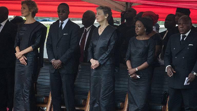 Kojo Annan (tweede van links) op de begrafenis van zijn vader in 2018 (foto: AFP).
