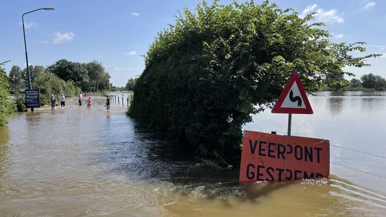De ondergelopen Maasstraat in Sambeek. (Foto:Alice van der Plas)