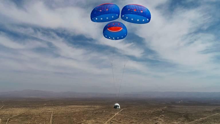 Zo zal de capsule weer landen (foto: Blue Origin).