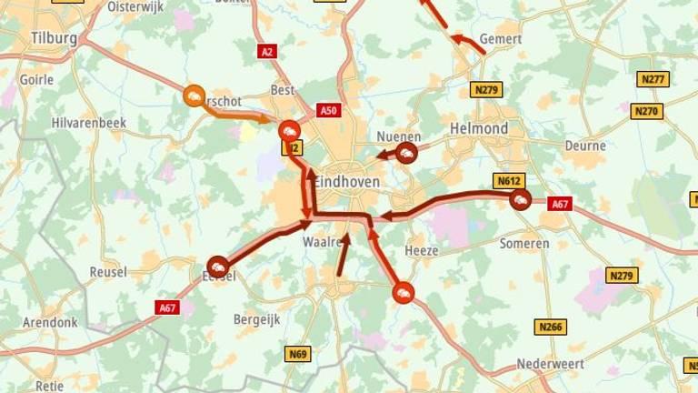 De situatie rondom Eindhoven (beeld ANWB).