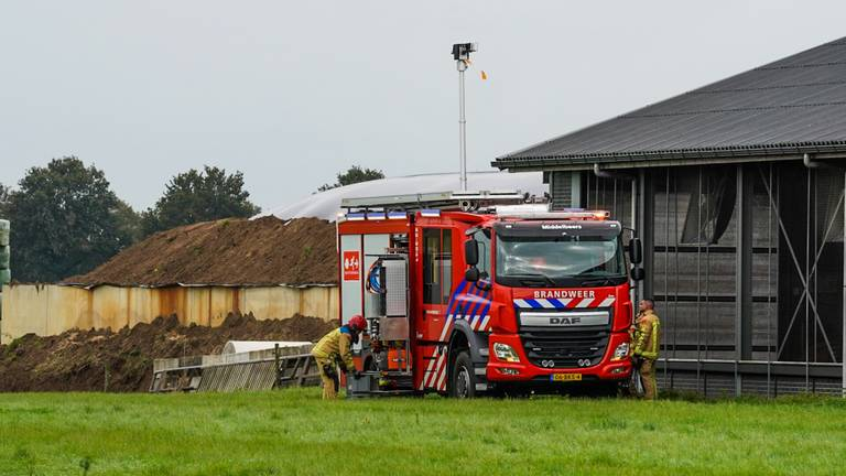 De brandweer aan de slag bij de plek waar de gassen zijn ontsnapt, vlakbij de stallen (foto: Dave Hendriks/SQ Vision Mediaprodukties).