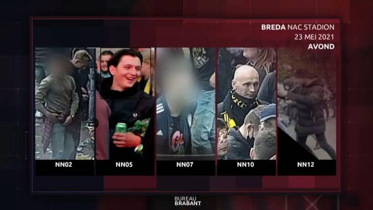 Rellende NAC-supporters  herkenbaar in beeld bij Bureau Brabant