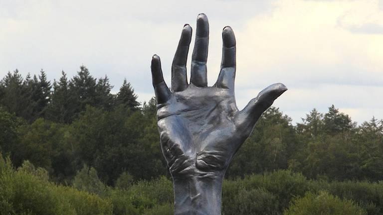 Een hand die uit het water steekt.