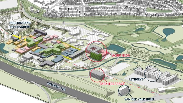 Tilburg krijgt een 'Acuutblok': één plek voor alle spoedzorg bij het Elisabeth-TweeSteden ziekenhuis. (beeld: ETZ)