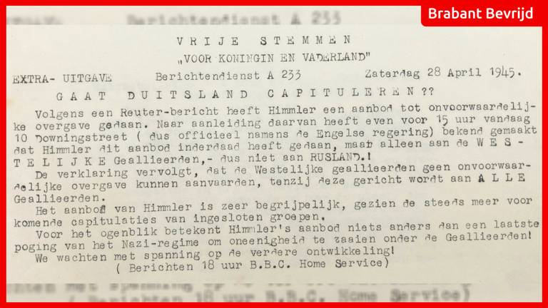 Nieuwsbulletin van 28 april 1945 | Foto: Jan de Wit