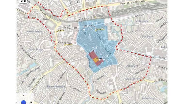 Het blauwe gebied is uitgeroepen tot veiligheidsrisicogebeid.