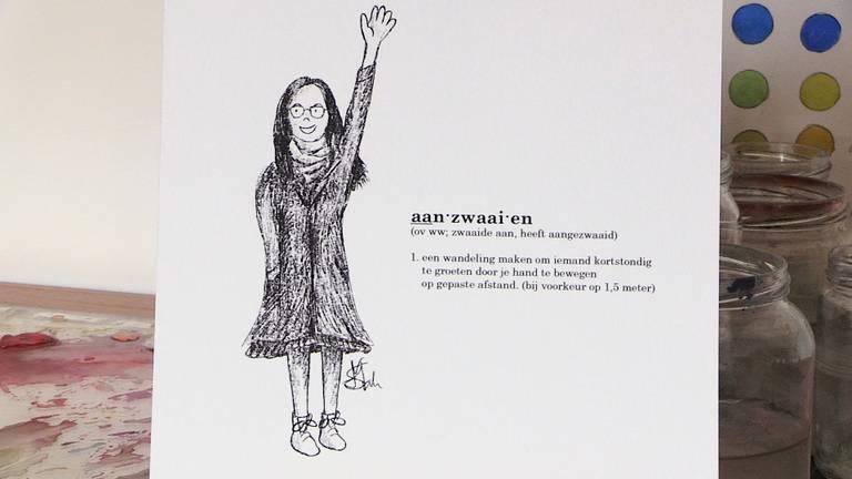 'Aanzwaaien': illustratie uit het boekje Microcosmos. (Beeld: Hoi-Shan Mak)
