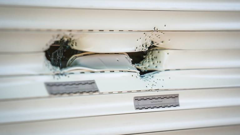 Buurtbewoners ontdekten vrijdagochtend beschadigingen in de voordeur en het rolluik voor het huis (foto: SQ Vision).