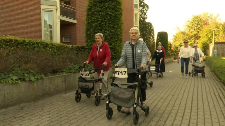 Deelnemers aan de rollatorloop in Zundert (foto: Raoul Cartens).